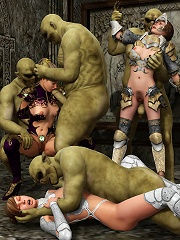 Secretary gets tortured by 3D Demons hard cock