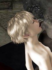 3D Baby chokes on dark eyed Toon Orc